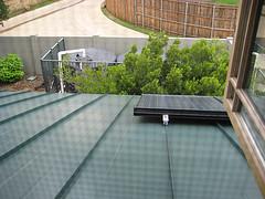 Solar panels, rainwater cisterns